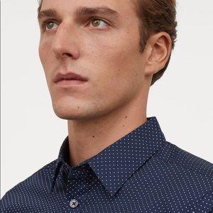 0$ w/bundle pin dot slim fit dress shirt button up